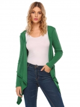 Green Long Sleeve Solid Open Front Knit Cardigan