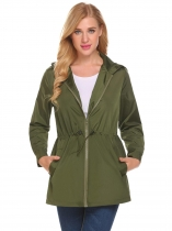 Army green Women Casual Lightweight Waterproof Raincoat Jacket Hooded Coat