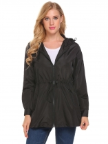 Black Women Casual Lightweight Waterproof Raincoat Jacket Hooded Coat