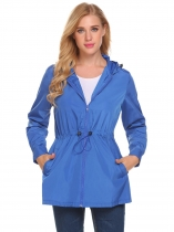 Navy blue Women Casual Lightweight Waterproof Raincoat Jacket Hooded Coat