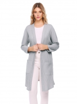 Light gray Raglan Long Sleeve Knitted Solid Drape Open Casual Long Cardigan with Pocket