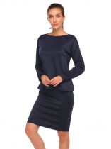 Navy blue 2 Pieces Drawstring Female Suit O Neck Long Sleeve Top & Knee Length Skirt Casual Set