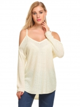 White Women Casual V-Neck Long Sleeve Cold Shoulder Solid Warm Knit Sweater