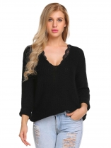 Black Casual V-Neck Long Sleeve Solid Rib Sweater
