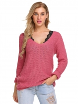 Rose red Casual V-Neck Long Sleeve Solid Rib Sweater