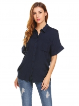 Navy blue Women Short Sleeve Solid Casual Loose Button Front Collared Shirts with Pocket