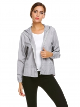 Grey Women Outwear Long Sleeve Hooded Drawstring Waist Waterproof Zip Up Coat Jackets
