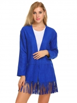 Blue Women Casual Long Sleeve Solid Open Fringe Cardigan