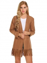 Brown Women Casual Long Sleeve Solid Open Fringe Cardigan