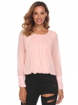 Light pink Women Fashion Pleated Ruched O-Neck Long Sleeve Solid Chiffon Blouses