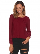 Wine red Women Fashion Pleated Ruched O-Neck Long Sleeve Solid Chiffon Blouses