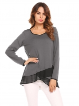 Dark Grey Scoop Neck Long Sleeve Chiffon Splicing Patchwork Casual Shirts Blouse Top