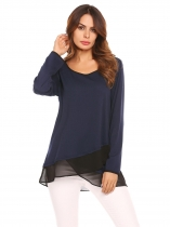 Navy blue Scoop Neck Long Sleeve Chiffon Splicing Patchwork Casual Shirts Blouse Top