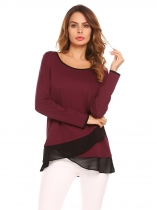 Wine red Femmes Scoop Neck manches longues en mousseline de soie épissage Patchwork Casual Shirts Blouse Top