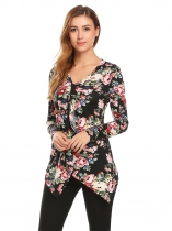 Black Women V-Neck Long Sleeve Asymmetrical Hem Floral Print Casual Slim Blouse Casual Tops