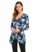 Navy blue Women V-Neck Long Sleeve Asymmetrical Hem Floral Print Casual Slim Blouse Casual Tops