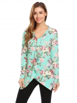 Blue Women V-Neck Long Sleeve Asymmetrical Hem Floral Print Casual Slim Blouse Casual Tops