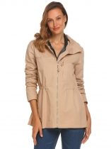 Khaki Women Casual Stand Neck Long Sleeve Zipper Lightweight Jacket