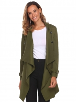 Army green Women Fashion Long Sleeve Solid Trench Coat