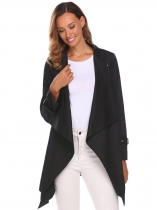 Black Women Fashion Long Sleeve Solid Trench Coat