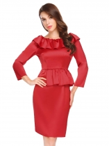 Red Boat Neck Backless Long Sleeve Ruffles Slim Fit Satin Peplum Dress