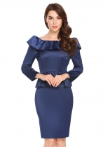 Royal Blue Boat Neck Backless Long Sleeve Ruffles Slim Fit Satin Peplum Dress