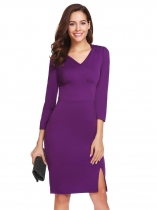 Purple Femmes moulant v cou à manches longues Split Hem Slim Fit Business Bodycon Dress