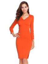 Orange V-Neck Long Sleeve Split Hem Slim Fit Business Party Bodycon Dress