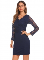 Navy blue Femmes Fashion V Neck manches longues Mini Lace Bodycon Slim Pencil Dress