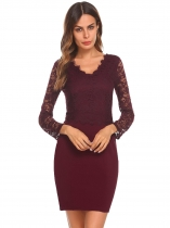 Wine red Femmes Fashion V Neck manches longues Mini Lace Bodycon Slim Pencil Dress