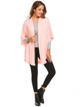 Pink Women Short Sleeve Flower-trimmed Open Front Cape Jacket