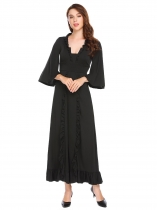 Black Square Neck Flare Sleeve Hollow Out Ruffles Evening Maxi Dress