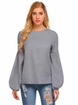Grey Femmes Mode O-Neck Long Puff Sleeve Solid Casual Tops