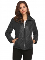 Black Women Casual Thickened Warm Winter Quilted Coat Jacket