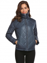 Navy blue Women Casual Thickened Warm Winter Quilted Coat Jacket