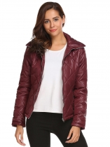 Wine red Women Casual Thickened Warm Winter Quilted Coat Jacket