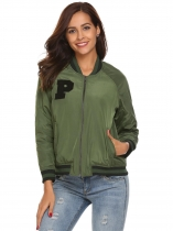 Army green Long Sleeve Patchwork Baseball Lightweight Bomber Jacket