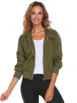 Army green Women Casual Long Sleeve Zipper Lightweight Jacket with Side Pockets
