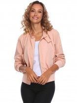Rose Pink Women Casual Long Sleeve Zipper Lightweight Jacket with Side Pockets