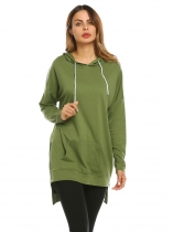 Army green Women Long Sleeve High Low Side Slit Zipper Pullover Solid Casual Hoodies