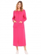 Rose red Long Robe Sleepwear Sleeve Zip-Front Bathrobe with Pockets
