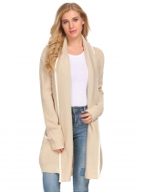Khaki Women Open Front Long Sleeve Warm Cardigan