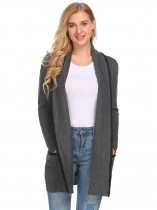 Dark gray Women Open Front Long Sleeve Warm Cardigan