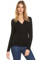 Black Women Fashion V-Neck Long Sleeve Solid T-Shirt