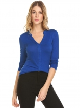 Blue Women Fashion V-Neck Long Sleeve Solid T-Shirt