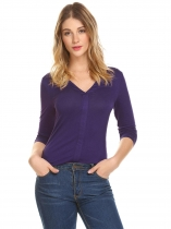 Purple Women Fashion V-Neck Long Sleeve Solid T-Shirt