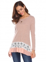 Rose Pink Women Fashion Lace Patchwork O-Neck Long Sleeve Loose T-Shirt