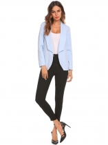 Light blue Women Lapel Collar Solid Long Sleeve Slim Fit Blazer Jacket