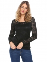 Black Women Fashion Lace Long Sleeve Solid Slim Casual Top