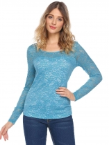 Blue Women Fashion Lace Long Sleeve Solid Slim Casual Top